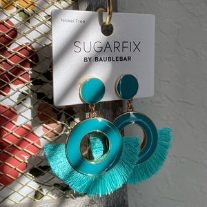 BaubleBar Sugarfix Aqua Blue Tassel Earrings NEW